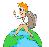 Traveling around the world clipart